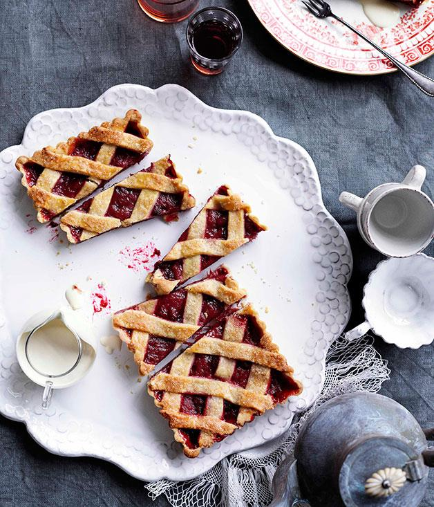 [**Rhubarb and raspberry crostata**](http://gourmettraveller.com.au/rhubarb-and-raspberry-crostata.htm)