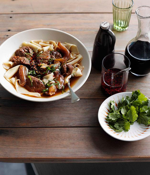 **Hand-cut egg noodles in broth with beef shin and tendon** **Hand-cut egg noodles in broth with beef shin and tendon**    [View Recipe](http://www.gourmettraveller.com.au/hand-cut-egg-noodles-in-broth-with-beef-shin-and-tendon.htm)