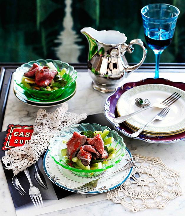 """[**Star anise-poached beef and Sichuan cucumber salad**](https://www.gourmettraveller.com.au/recipes/browse-all/star-anise-poached-beef-and-sichuan-cucumber-salad-10807