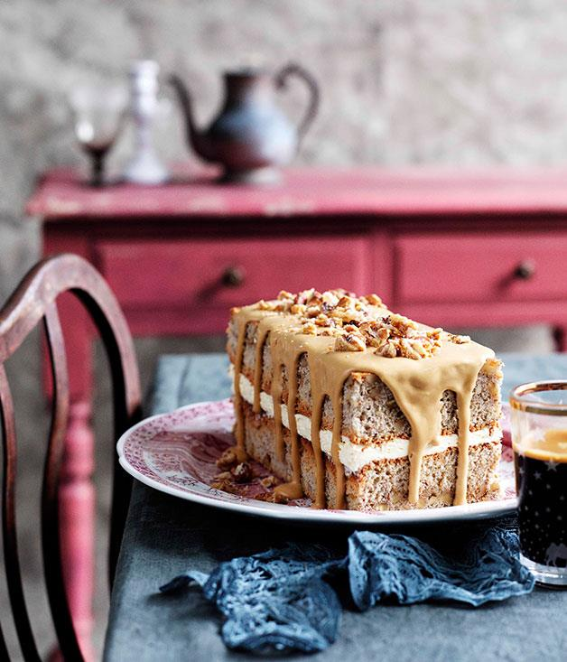 "**[Walnut and espresso cake](https://www.gourmettraveller.com.au/recipes/browse-all/walnut-and-espresso-cake-10818|target=""_blank"")**"