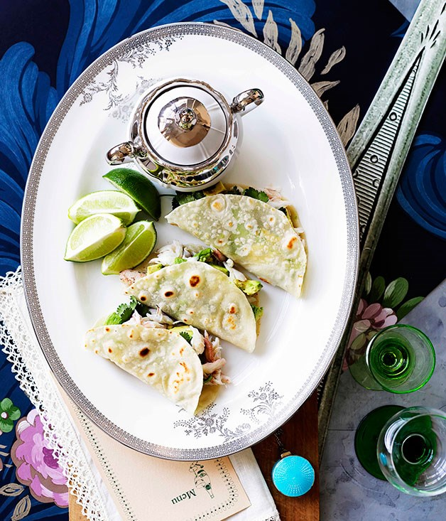 "[**Crab and avocado tortillas**](https://www.gourmettraveller.com.au/recipes/browse-all/crab-and-avocado-tortillas-10822|target=""_blank"")"