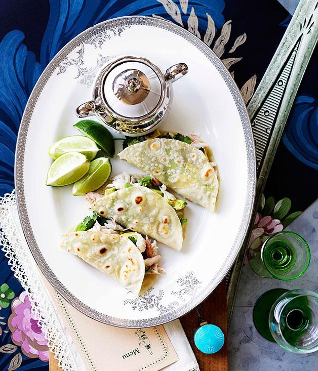 "[**Crab and avocado tortillas**](https://www.gourmettraveller.com.au/recipes/browse-all/crab-and-avocado-tortillas-10822|target=""_blank"")"