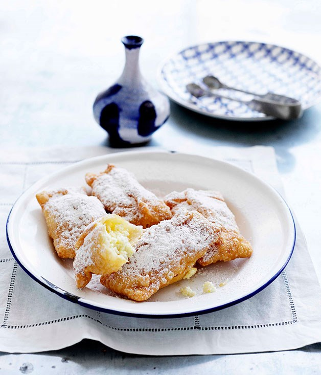 "[**Ricotta and cinnamon pastry pillows**](http://gourmettraveller.com.au/ricotta-and-cinnamon-pastry-pillows.htm|target=""_blank"")"