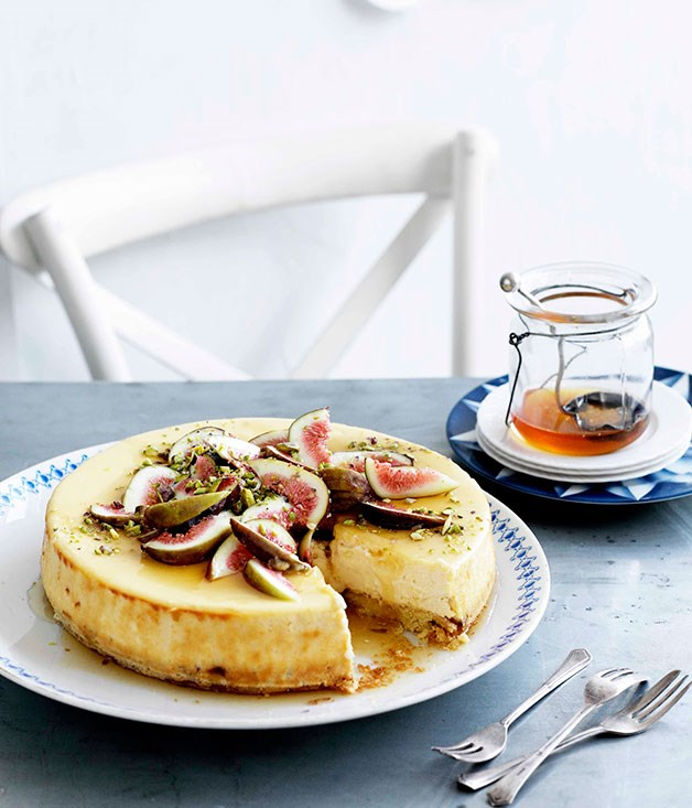 "[**Goat's cheese cake with figs and honey**](http://www.gourmettraveller.com.au/goats-cheese-cake-with-figs-and-honey.htm|target=""_blank"")"
