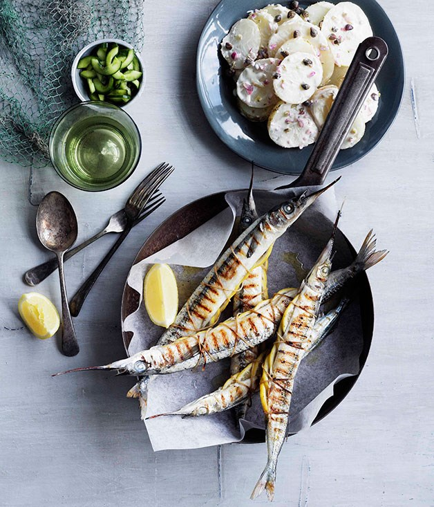 **Garfish with potato and caper salad and quick pickled cucumber** **Garfish with potato and caper salad and quick pickled cucumber**    [View Recipe](http://gourmettraveller.com.au/garfish-with-potato-and-caper-salad-and-quick-pickled-cucumber.htm)     PHOTOGRAPH **BEN DEARNLEY**