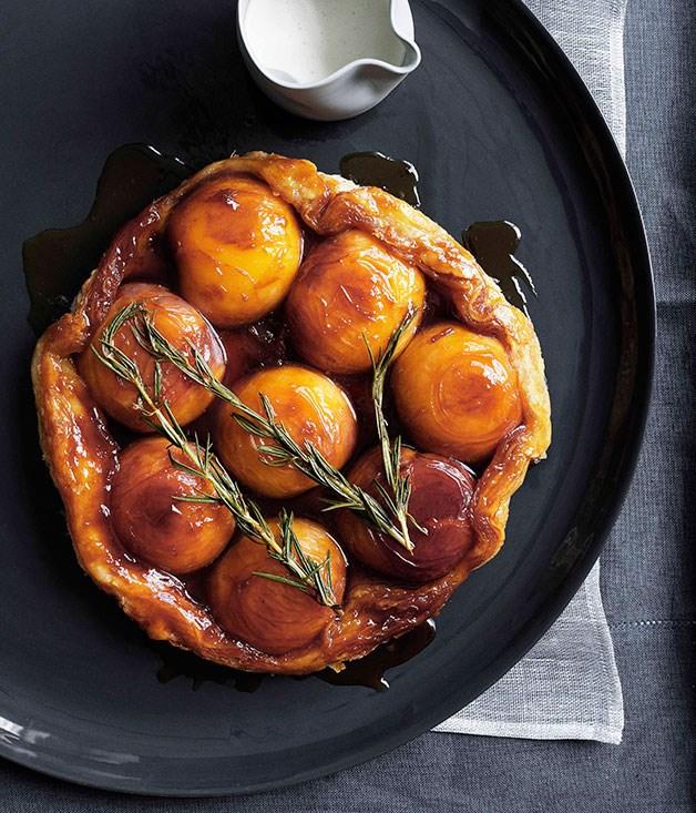 Peach and rosemary tarte Tatin with runny cream