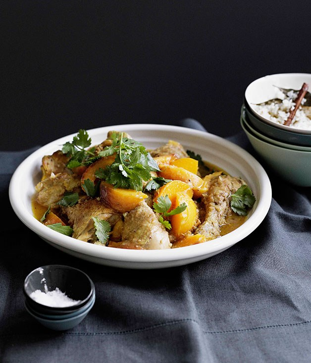**Peach chicken with saffron and lemon rice pilaf** **Peach chicken with saffron and lemon rice pilaf**    [View Recipe](http://gourmettraveller.com.au/peach-chicken-with-saffron-and-lemon-rice-pilaf.htm)     PHOTOGRAPH **BEN DEARNLEY**