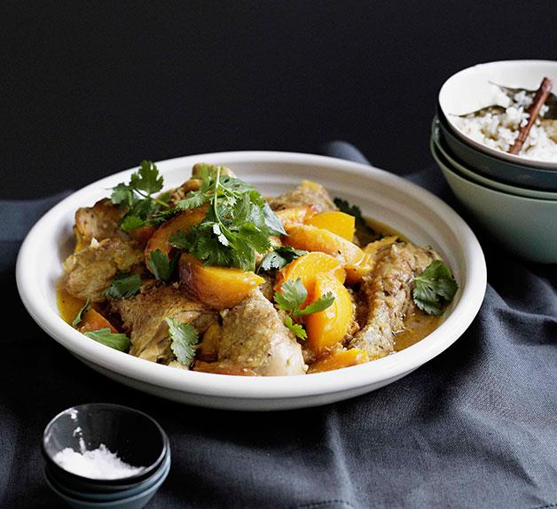 Peach chicken with saffron and lemon rice pilaf