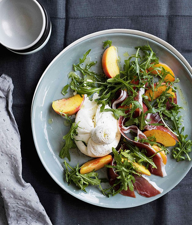 **Peaches with burrata, prosciutto crudo and rocket** **Peaches with burrata, prosciutto crudo and rocket**    [View Recipe](http://gourmettraveller.com.au/peaches-with-burrata-prosciutto-crudo-and-rocket.htm)     PHOTOGRAPH **BEN DEARNLEY**