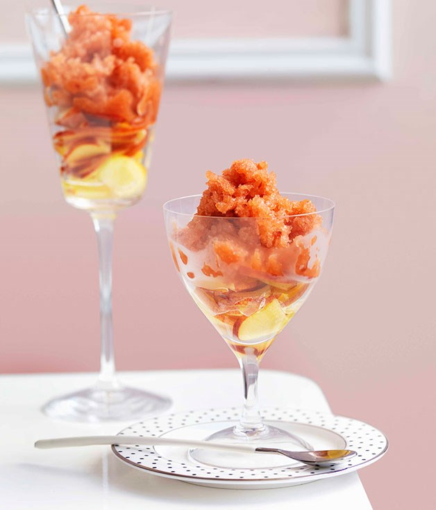 **Nectarine and elderflower granita** **Nectarine and elderflower granita**    [View Recipe](http://gourmettraveller.com.au/nectarine-and-elderflower-granita.htm)     PHOTOGRAPH **WILLIAM MEPPEM**
