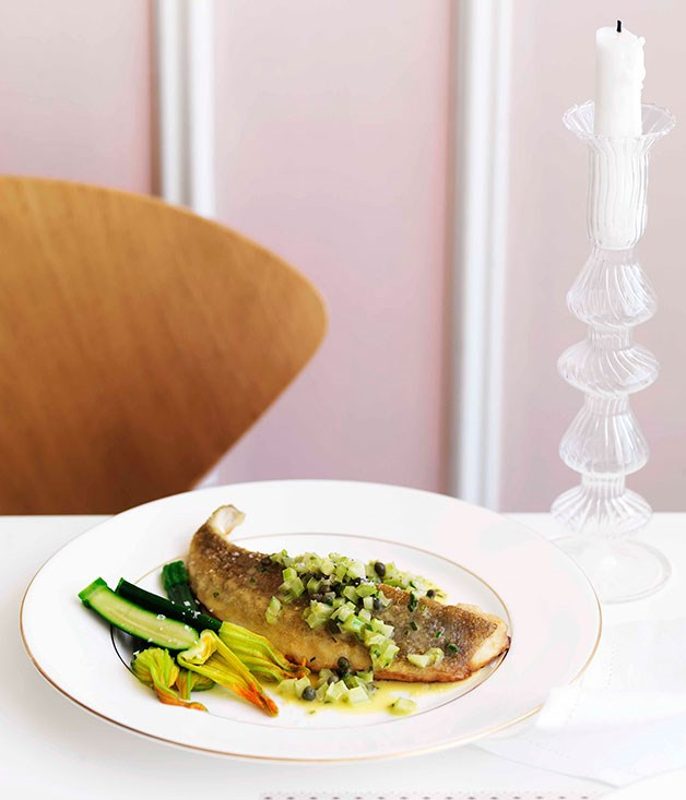 Pan-fried flathead with celery, lemon and capers