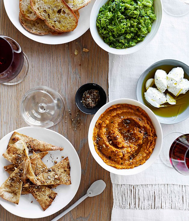 **Crushed broad beans with garlic and lemon crostini and roast carrot dip with labne and crisp pitta bread** **Crushed broad beans with garlic and lemon crostini**    [View Recipe](http://gourmettraveller.com.au/crushed-broad-beans-with-garlic-and-lemon-crostini.htm)     **Roast carrot dip with labne and crisp pitta bread**    [View Recipe](http://gourmettraveller.com.au/roast-carrot-dip-with-labne-and-crisp-pitta-bread.htm)     PHOTOGRAPH **BEN DEARNLEY**