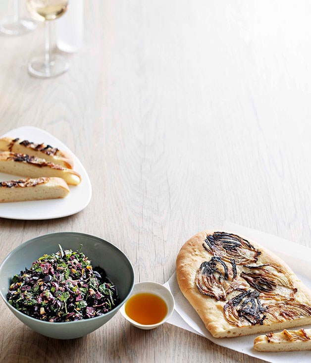 **Rough olive tapenade with caramelised fennel schiacciata** **Rough olive tapenade with caramelised fennel schiacciata**    [View Recipe](http://gourmettraveller.com.au/rough-olive-tapenade-with-caramelised-fennel-schiacciata.htm)     PHOTOGRAPH **BEN DEARNLEY**