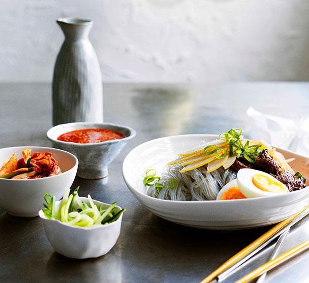 Korean buckwheat noodles with beef and nashi