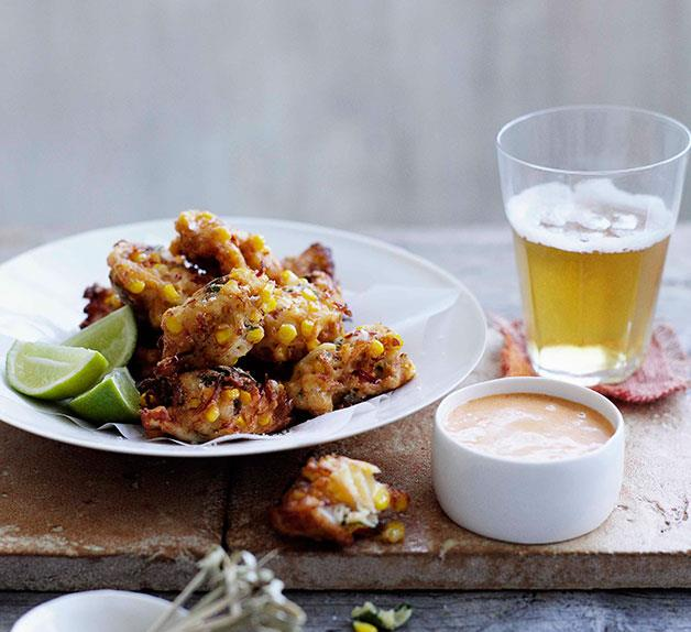 Crab, corn and mint fritters with lemon-paprika mayonnaise