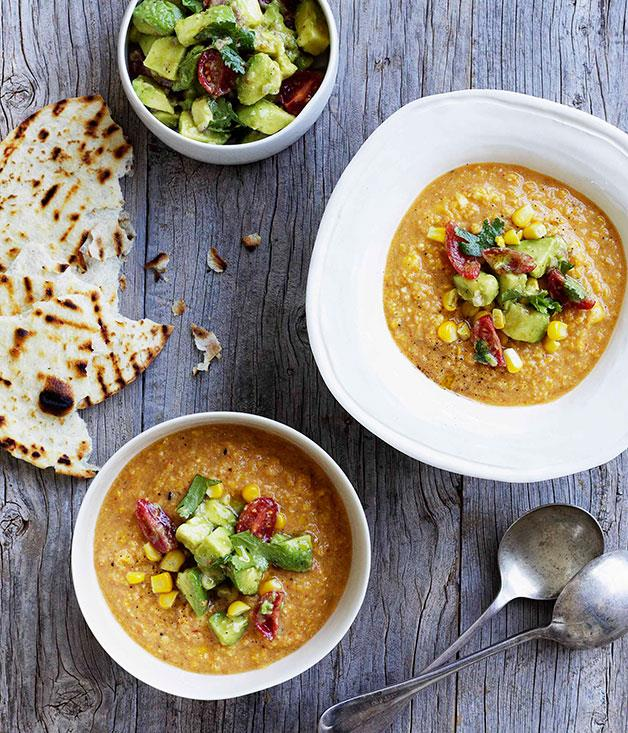 """[**Mexican corn soup with crushed avocado**](https://www.gourmettraveller.com.au/recipes/browse-all/mexican-corn-soup-with-crushed-avocado-10871