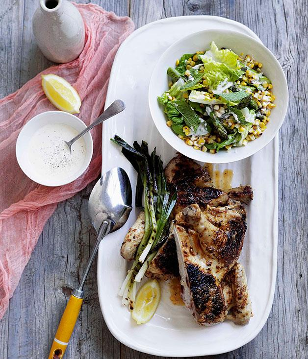 **Char-grilled chicken with corn salad and buttermilk dressing** **Char-grilled chicken with corn salad and buttermilk dressing**    [View Recipe](http://gourmettraveller.com.au/char-grilled-chicken-with-corn-salad-and-buttermilk-dressingNEW.htm)     PHOTOGRAPH **BEN DEARNLEY**