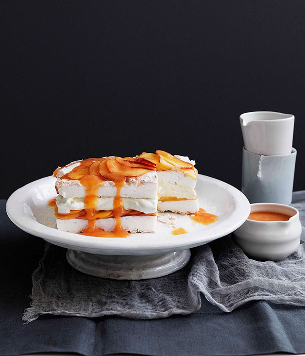 "[**Peaches and cream meringue cake**](http://gourmettraveller.com.au/peaches-and-cream-meringue-cake.htm|target=""_blank"")"