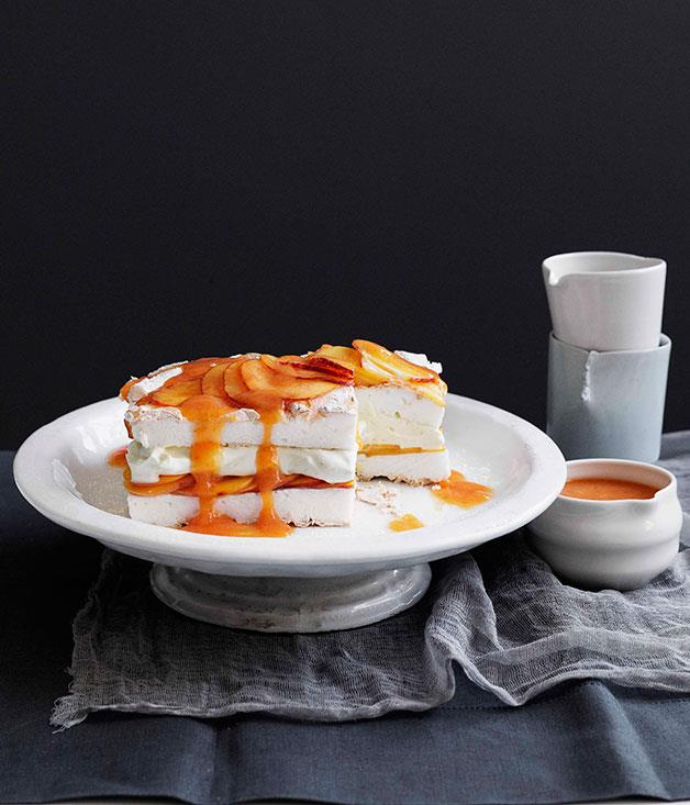 **Peaches and cream meringue cake**