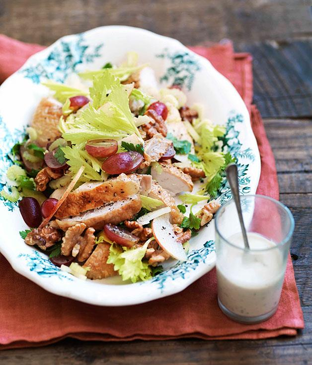 """[**Roast chicken, walnut and grape salad with blue cheese dressing**](https://www.gourmettraveller.com.au/recipes/browse-all/roast-chicken-walnut-and-grape-salad-with-blue-cheese-dressing-10878