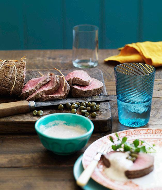 "[**Cold roast beef fillet with tonnato sauce**](https://www.gourmettraveller.com.au/recipes/browse-all/cold-roast-beef-fillet-with-tonnato-sauce-10883|target=""_blank"")<br>"