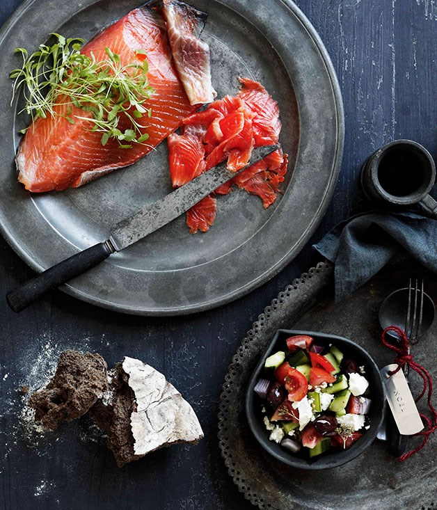 **Greek cured ocean trout with village salad** **Greek cured ocean trout with village salad**    [View Recipe](http://gourmettraveller.com.au/greek-cured-ocean-trout-with-village-salad.htm)     PHOTOGRAPH **BEN DEARNLEY**
