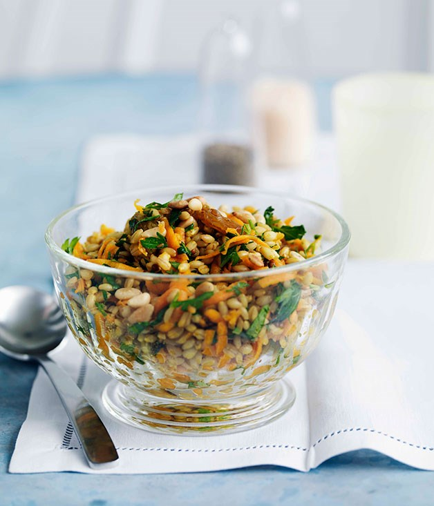 "**[Carrot and barley salad with dates and raisins](http://gourmettraveller.com.au/carrot-and-barley-salad-with-dates-and-raisins.htm|target=""_blank"")**      PHOTOGRAPH **WILLIAM MEPPEM**"