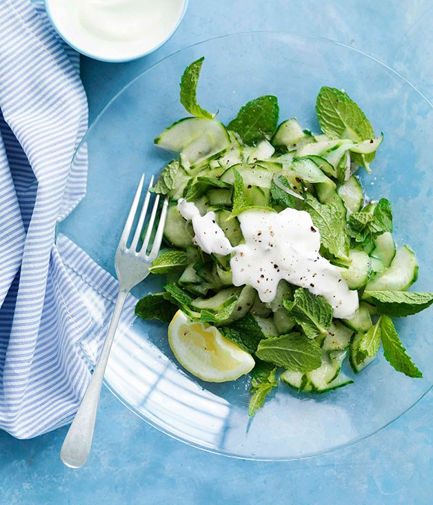 "**[Crunchy cucumber with yoghurt and mint](http://gourmettraveller.com.au/crunchy-cucumber-with-yoghurt-and-mint.htm|target=""_blank"")**   PHOTOGRAPH **WILLIAM MEPPEM**"