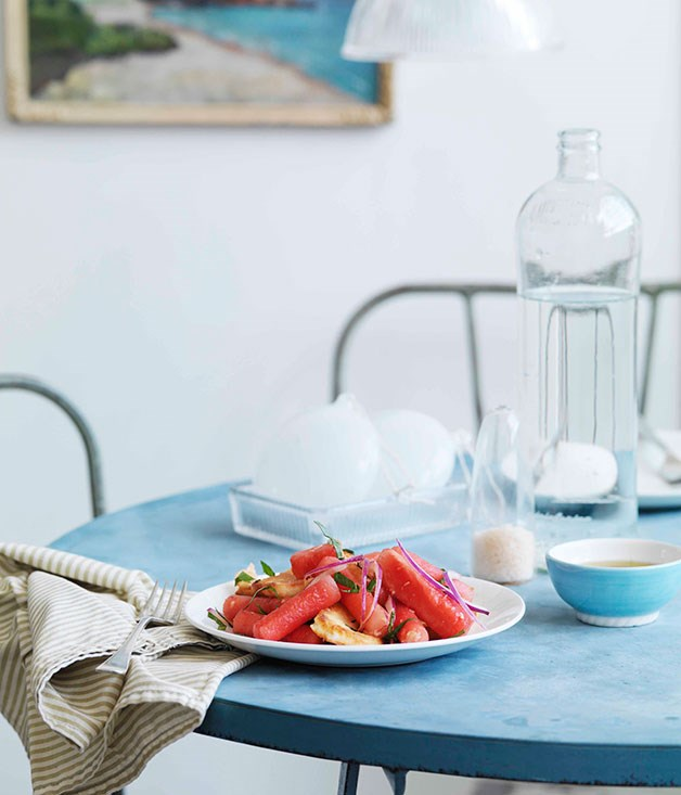 "**[Watermelon, haloumi and bread salad](http://gourmettraveller.com.au/watermelon-haloumi-and-bread-salad.htm|target=""_blank"")**     PHOTOGRAPH **WILLIAM MEPPEM**"