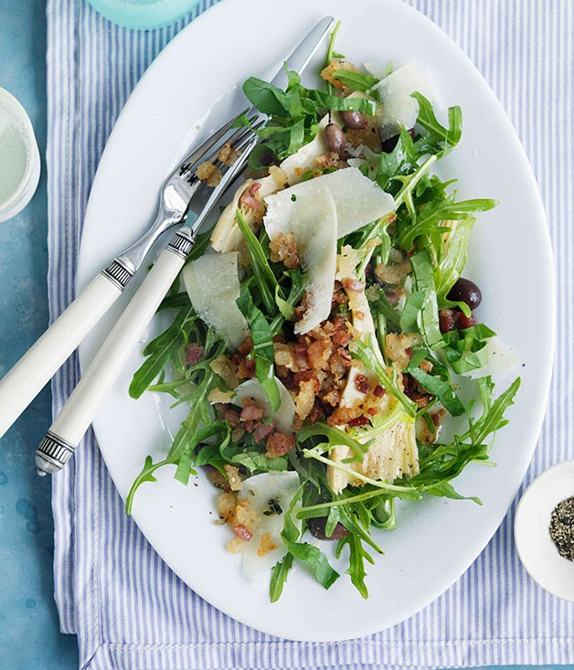 "[**Rocket, parmesan and olive salad with pancetta crumbs**](https://www.gourmettraveller.com.au/recipes/browse-all/rocket-parmesan-and-olive-salad-with-pancetta-crumbs-10310|target=""_blank"") <br><br> The pancetta crumbs add wonderful texture to this salad. Enjoy it with a glass of chilled dry riesling."