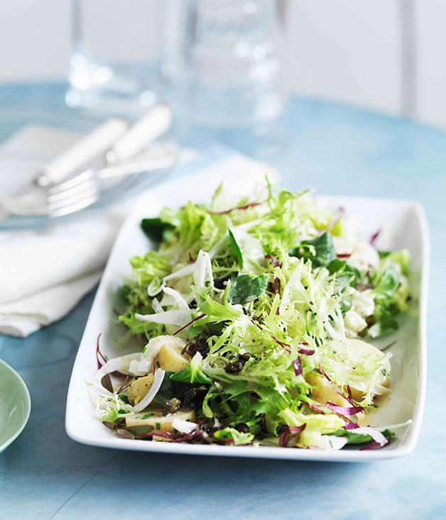 "**[Potato, bitter greens and anchovy dressing](http://gourmettraveller.com.au/potato-bitter-greens-and-anchovy-dressing.htm|target=""_blank"")**     PHOTOGRAPH **WILLIAM MEPPEM**"