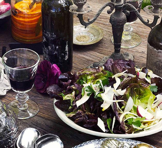 Red oak, fennel and radish salad with red wine vinaigrette