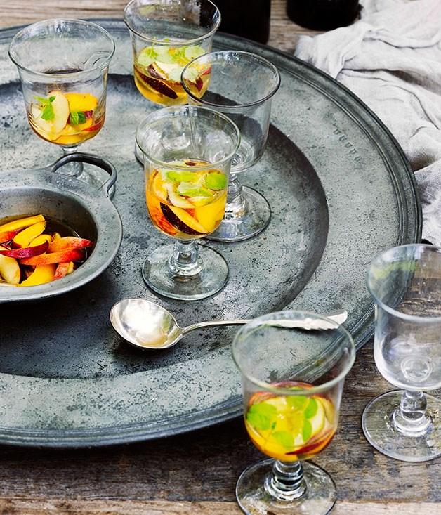 **Peach, nectarine and sparkling marsanne** **Peach, nectarine and sparkling marsanne**    [View Recipe](http://www.gourmettraveller.com.au/peach-nectarine-and-sparkling-marsanne.htm)     PHOTOGRAPH **SHARYN CAIRNS**