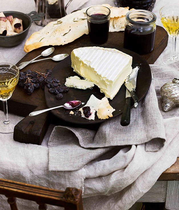 Fromager d'Affinois with grape jelly and rosemary water crackers