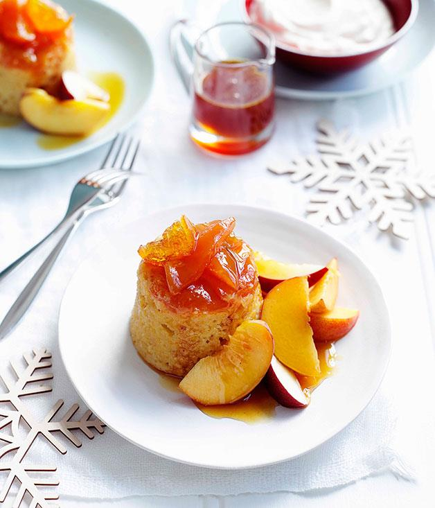 **Peach and orange puddings with orange-blossom syrup** **Peach and orange puddings with orange-blossom syrup**    [View Recipe](http://gourmettraveller.com.au/peach-and-orange-puddings-with-orange-blossom-syrup.htm)     PHOTOGRAPH **BEN DEARNLEY**