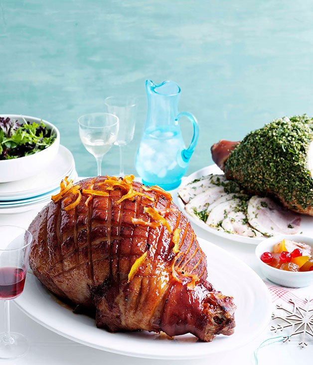 Herb and pine nut-crusted roast ham (at right)