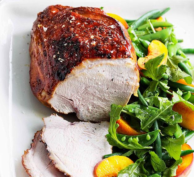 Vincotto-glazed turkey breast with peach and green bean salad