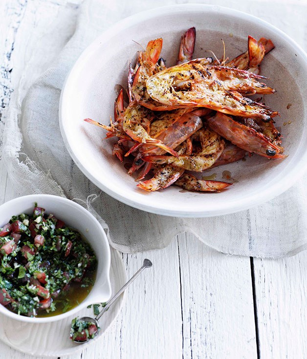 "[**Barbecued prawns with pico de gallo**](https://www.gourmettraveller.com.au/recipes/browse-all/barbecued-prawns-with-pico-de-gallo-10334|target=""_blank"")"