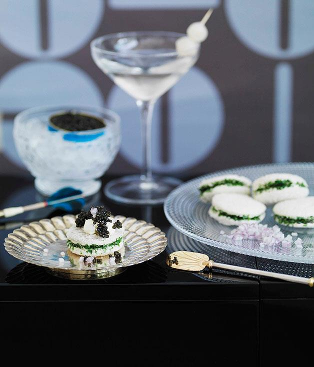 """**[Caviar with herb sandwiches](http://gourmettraveller.com.au/caviar-with-herb-sandwiches.htm