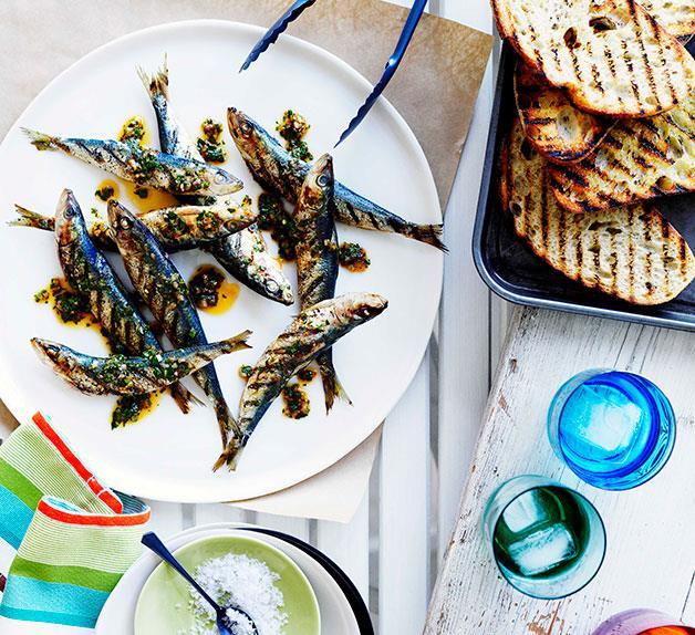 Grilled sardine crostini with chimichurri