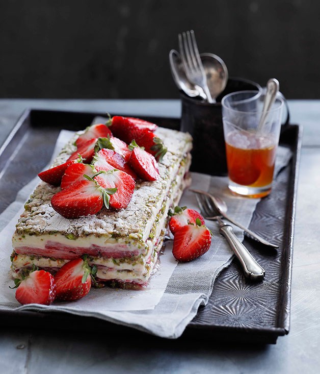 Strawberry, yoghurt and pistachio layer cake