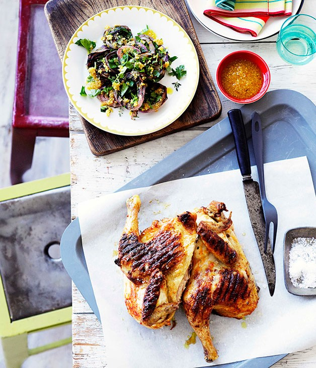"[**Grilled whole chicken with piri piri**](https://www.gourmettraveller.com.au/recipes/browse-all/grilled-whole-chicken-with-piri-piri-10376|target=""_blank"")"