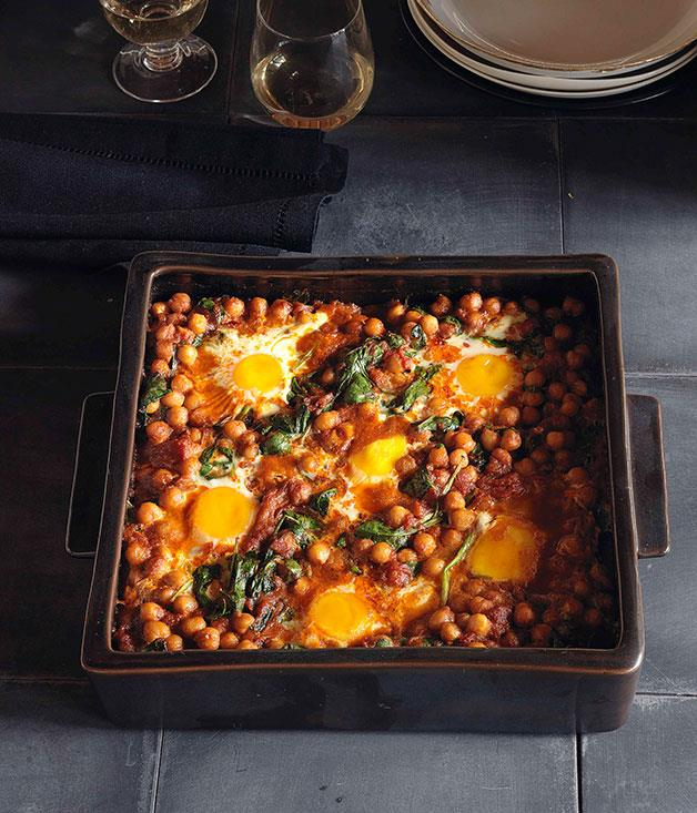 "[**Baked eggs with chickpeas and spinach**](https://www.gourmettraveller.com.au/recipes/browse-all/baked-eggs-with-chickpeas-and-spinach-10384|target=""_blank"")"
