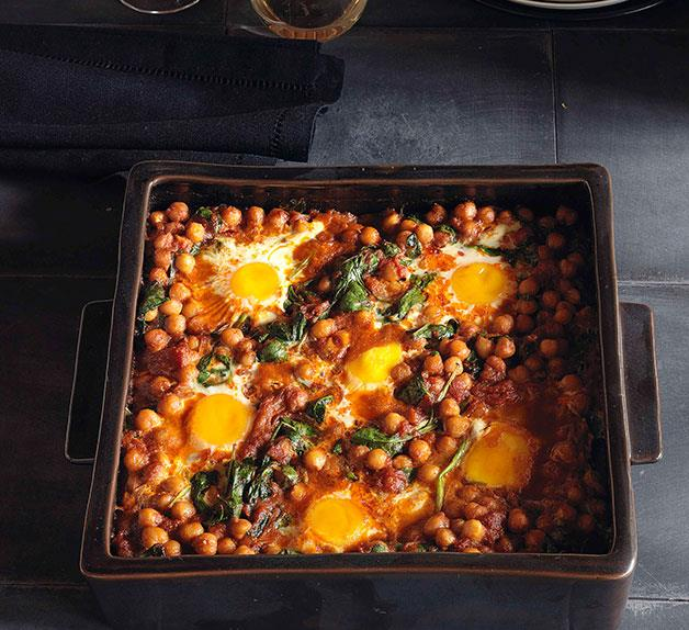 Baked eggs with chickpeas and spinach