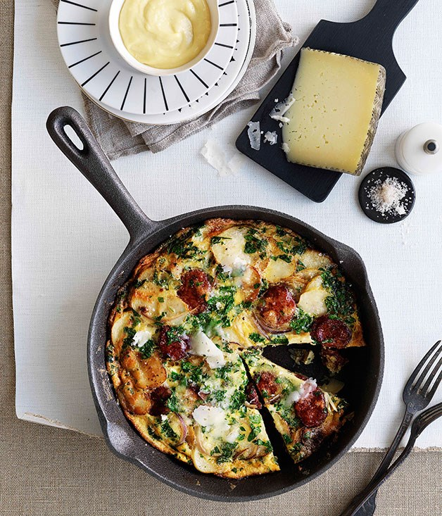 "[**Chorizo and Manchego tortilla**](https://www.gourmettraveller.com.au/recipes/browse-all/chorizo-and-manchego-tortilla-10389|target=""_blank"")"