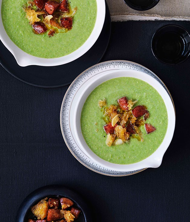 "[**Pea and sherry soup with chorizo oil and croûtons**](https://www.gourmettraveller.com.au/recipes/browse-all/pea-and-sherry-soup-with-chorizo-oil-and-croutons-10391|target=""_blank"")"