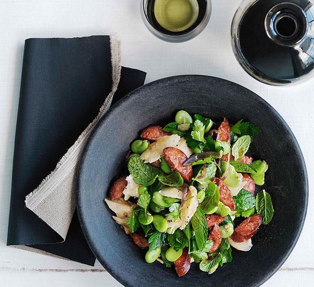 Chorizo, salt cod and broad bean salad