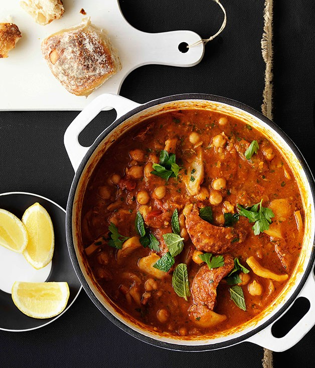"[**Cuttlefish and chorizo braised with chickpeas**](https://www.gourmettraveller.com.au/recipes/browse-all/cuttlefish-and-chorizo-braised-with-chickpeas-10393|target=""_blank"")"