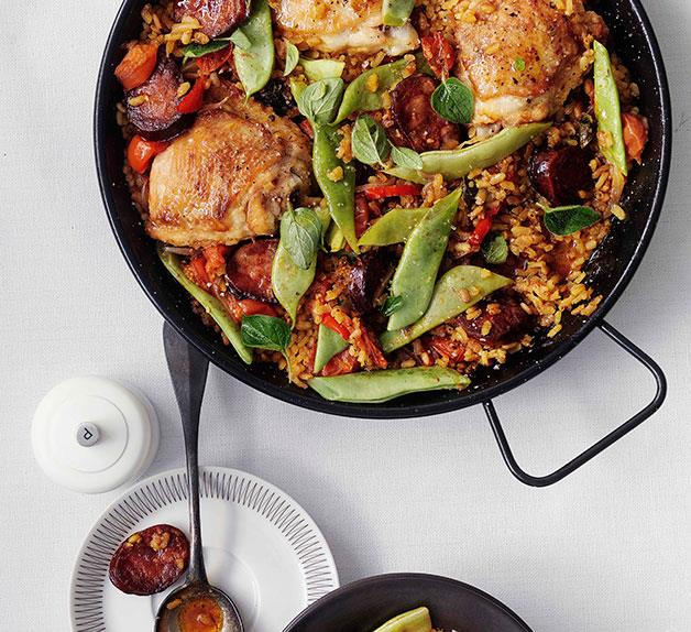 Rice with chorizo and chicken