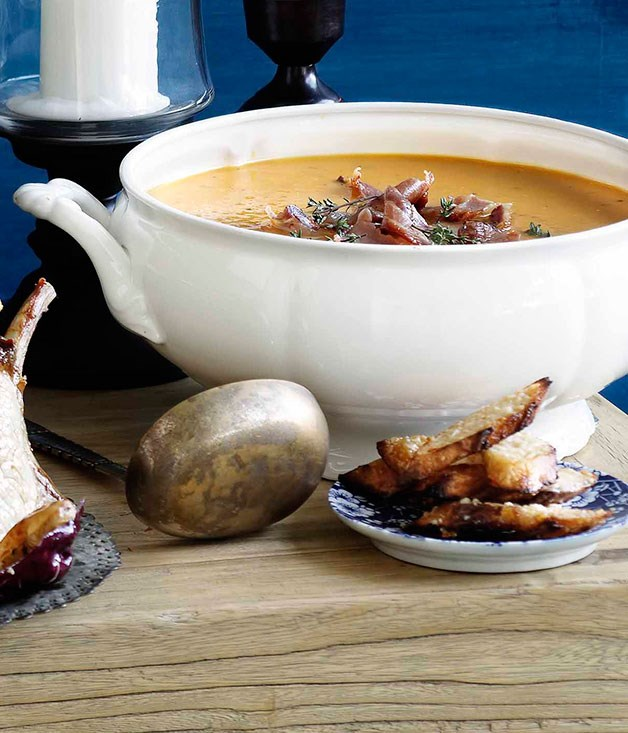 "**[Roast pumpkin soup with pancetta and parmesan](http://www.gourmettraveller.com.au/recipes/browse-all/roast-pumpkin-soup-with-pancetta-and-parmesan-10416|target=""_blank"")**"